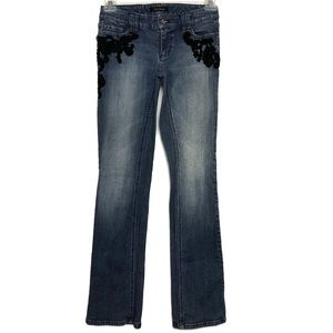 WHBM | Blanc | Black Appliqué Beaded Jeans 0R